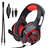 TUPELO GM-1 Wired Red Gaming Headset for PC, PlayStation 4, Xbox One - Game LED Light Headphones