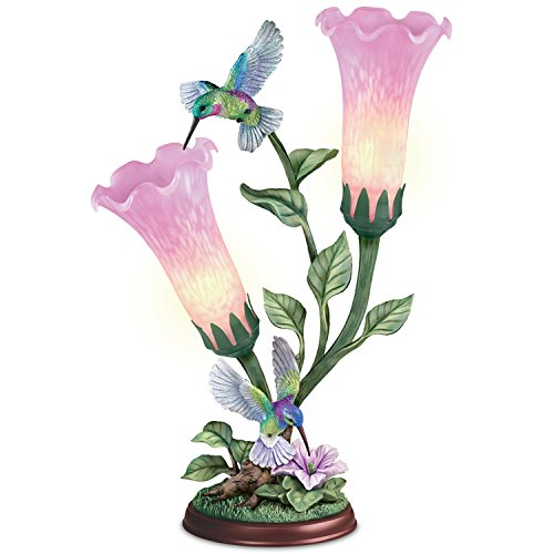 Lena Liu Torchiere Lamp With Hummingbird Sculptures And Glass Art Flower Shades by The Bradford Exchange (Glass Floor Lamp Flower)