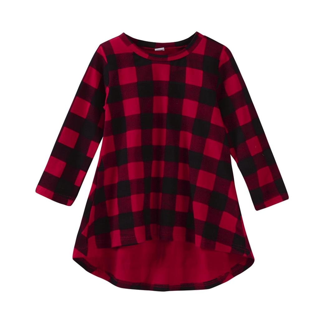 Sumen Toddler Baby Girl Plaid Print Long Sleeve Dress