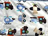 Lambs & Ivy, Baby Boy Blankets, Warm and Cozy, Extra Soft Micro Plush Fleece Blanket, Anti-Pilling, Embroidery on Corner, Transportation Theme on a Blue Sherpa, 30 x 40 in