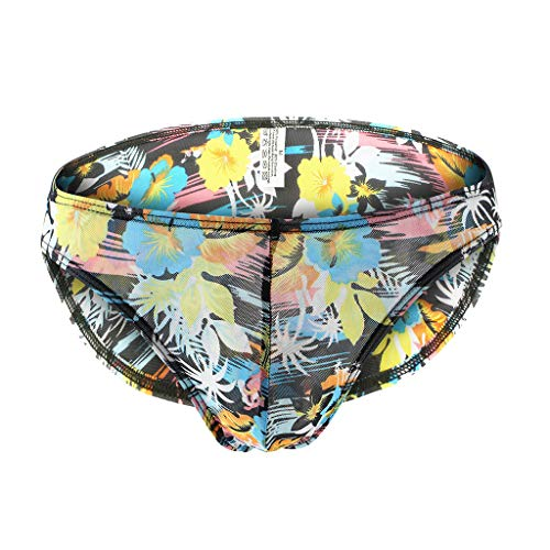 Suma-ma Mens Printed Briefs Sexy Underwear Breathable Sports Boxer Knickers Shorts Bulge Pouch Underpants(H,M)