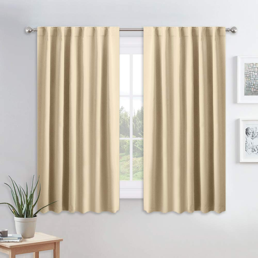 "PONY DANCE Kitchen Window Curtains - Light Block Home Decor Back Tab and Rod Pocket Draperies Heavy Duty Thermal Insulated Curtain Panels, W 52"" x L 45"", Beige, 2 Pieces"