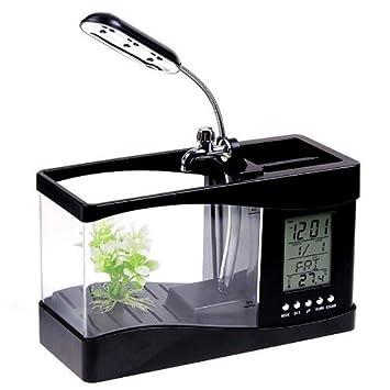 Mini sobremesa USB tanque de peces acuario tortuga tanque con temporizador reloj LCD luz negro: Amazon.es: Productos para mascotas