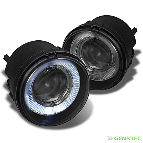 Xtune Smoked Halo Projector Bumper Fog Lights+Bulbs+Switch+Wiring Harness+Relay Pair Left+Right ()