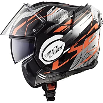 LS2 Casco de Moto Valiant Roboto, Negro/Naranja, tamaño M