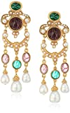 Ben-Amun Jewelry ''Tudor'' Statement with Pearl Drops Clip-On Earrings