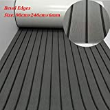 yuanjiasheng EVA Faux Teak Decking Sheet for Boat Yacht Non-Slip and Self-Adhesive Boat Flooring Pad 94.5''× 35.4'' Bevel Edges (Dark Gray with Black Lines)