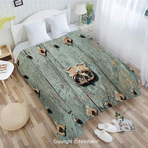 - PUTIEN Super Soft Blankets for Couch Bed Birthday European Cathedral with Rusty Old Door Knocker Gothic Medieval Times Spanish Style Decorative Perfect for Couch Sofa or Bed(59Wx78L)