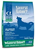 Natural Balance Alpha Grain-Free Lamb, Chicken Meal, and Rabbit Formula for Dogs, 12-1/2-Pound Bag, My Pet Supplies