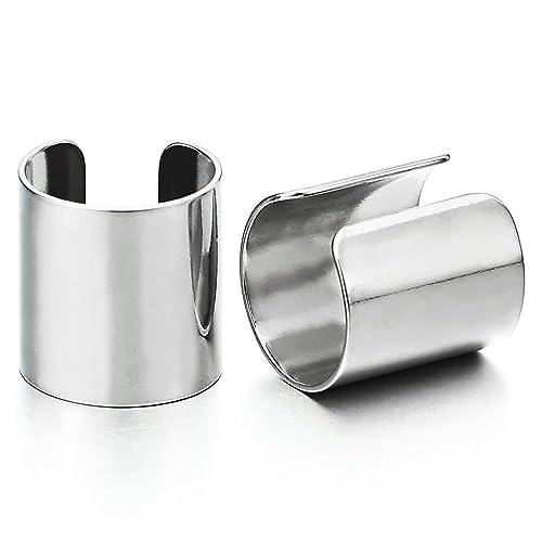 2 Piezas Clip de Oreja Cuff, Clip-on Pendientes del Aro, para Hombres Mujer, Acero Inoxidable