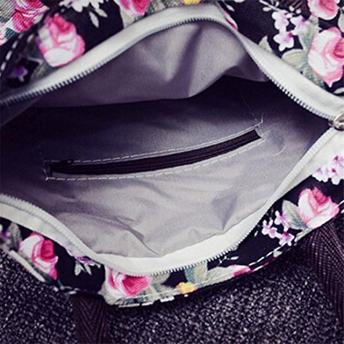 Flower Rose Zipper Purple Shopping Big Tote Black Handbag Printed Bag Canvas ZHOUBA Capacity Women Shoulder wqgXX