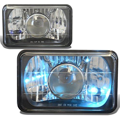 4X6 Inch Glass Lnes Projector Headlight Lamps Pair - Black Housing