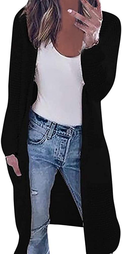 Willow S Women Autumn Knitting Cardigan Coat Solid Color Long Sleeve Open Front Breathable Comfy Loose Outshirt