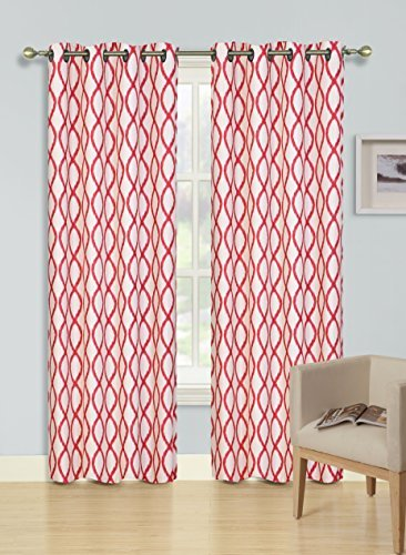Kashi Home Harper Collection Window Treatment / Curtain / Panel 54″x 84″ Abstract Modern Design in Red – Single Panel, Grommet Top