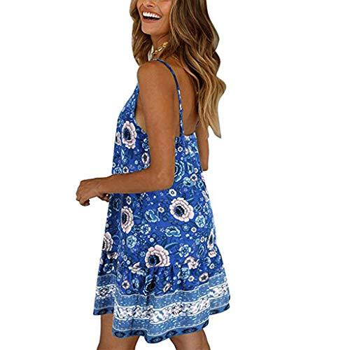 (Women's Bohemia Floral Printed Wrap V Neck Spaghettic Strap Split Casual Summer Beach Mini Dress Blue)