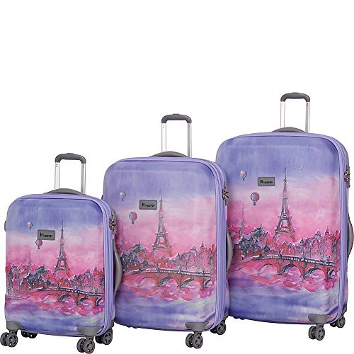 it luggage Ionian Classic 8 Wheel Paris Baloons 3 Piece Set, Lilac Paris Painting Balloons