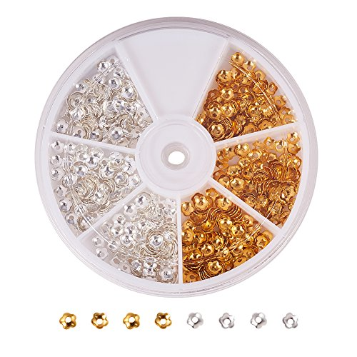 Brass Bead Caps - PandaHall Elite About 850 Pcs Brass Flower Bead Caps Diameter 4mm Jewelry Making 2 Colors