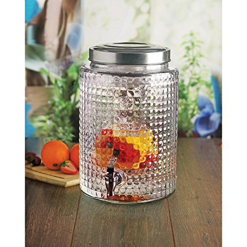 Square Cut Design Glass Beverage Drink Dispenser with Ice Insert and Fruit Infuser , 2.7 gallon, ()