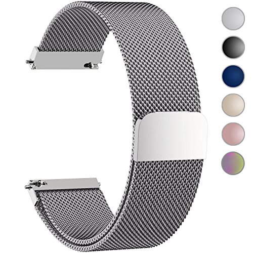 6+Colors+for+Quick+Release+Watch+Strap%2C+Fullmosa+Milanese+Magnetic+Closure+Stainless+Steel+Watch+Band+Replacement+Strap+for+20mm+Silver