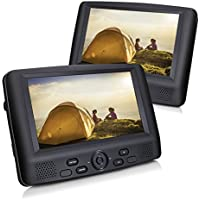 CUTRIP 9 Dual Screen Portable DVD Player with Car Headrest Mount Brackets, 5 Hours Built-in Rechargeable Battery -Black