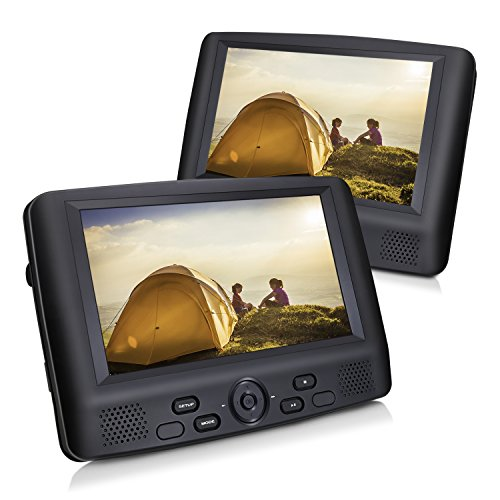CUtrip 9″ Dual Screen Portable DVD Player with Car Headrest Mount Brackets, 5 Hours Built-in Rechargeable Battery -Black