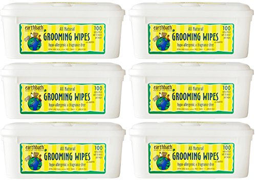 Earthbath All Natural Grooming Wipes, Hypo-Allergenic and Fragrence Free – Pack of 6