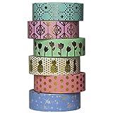 UOOOM 6 pcs Decorative Sticker Gold Foil Washi Tape Masking Paper Tape Adhesive Scrapbooking DIY Craft Gift10m X15mm (Design 9061)