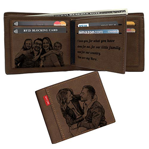 Custom Engraved Wallet,Personalized Photo RFID Wallets for Men,Husband,Dad,Son,Personalized Gifts