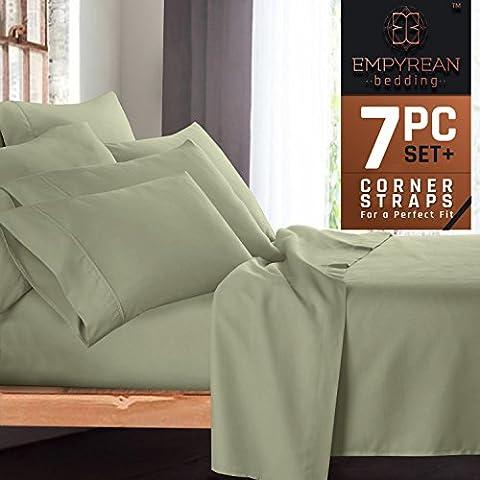 Premium 7-Piece Bed Sheet & Pillow Case Set – Luxurious & Soft Split King Size Linen, Extra Deep Pocket Super Fit Fitted Sage Olive Green (Split King Sheet Deep Pocket)