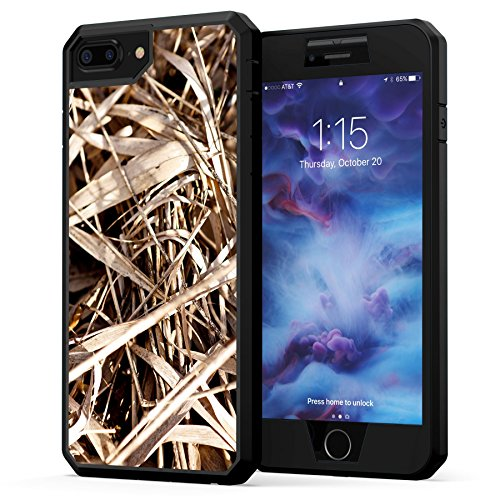 True Color Case Compatible with iPhone 7 Plus Case, Camo iPhone 8 Plus Case, Grass Camo [Camouflage Collection] Heavy Duty Hybrid + 9H Tempered Glass 360° Protection [True Armor Series] - Camouflage Case