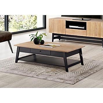 Studio Table Basse 130x42 Cm En Bois Massif Vernis Et Noir