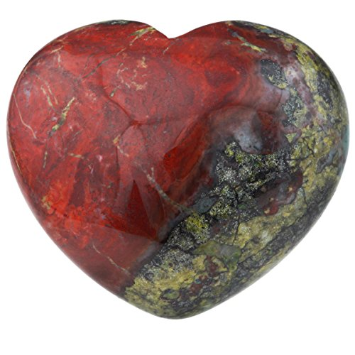 rockcloud Healing Crystal 1.6 inches Dragon Blood Stone Heart Love Carved Palm Worry Stone Chakra Reiki Balancing