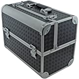 "SRA Cases EN-AC-FC-B086-BK Toolbox, Fishing Tackle/Bait Case with Fold Out Trays, 14.1 x 11 x 8.5"", Black"