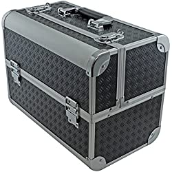 """SRA Cases EN-AC-FC-B086-BK Toolbox, Fishing Tackle/Bait Case with Fold Out Trays, 14.1 x 11 x 8.5"""", Black"""