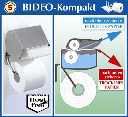 Wenko Edelstahl Wc Rollenhalter Bideo Toilettenpapierhalter Halter Fur Feuchtes Oder Trockenes Toilettenpapier Amazon De Kuche Haushalt