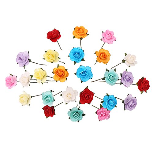 CCINEE 100pcs Assorted Colors Mini Paper Flowers Artificial Paper Flowers for Crafts and Decoration 10 Colors/ 18mm (Assorted Roses 18)