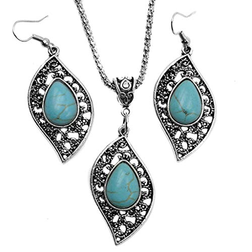 ngs for Women, Retro Design Leaf Turquoise Necklace Pendant Earrings Fashion Jewelry Set Women Ear Stud Jewelry (Silver) ()