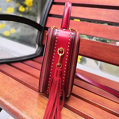 De Ocio Vino Retromujer Cuadrado Rojo Bandolera Mano Capacidad Cuero Tendencia Dama Multifuncional Ajustable Bolso Simple La Asd Moda Paquete brown Borla Red Pequeño Gran zq1HE71wx