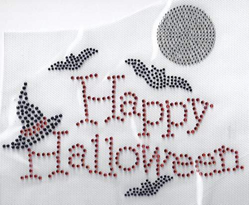 Halloween Rhinestone Iron Transfers (Halloween Rhinestone Iron on Transfer Hot Fix Bling Pumpkin Applique Witch DIY)
