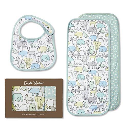 - C.R. Gibson 100% Cotton Blue Wild Animal Bib and Burp Cloth Set for Babies DwellStudio, 2pc, 8'' W x 5.4'' H x 1.9'' D