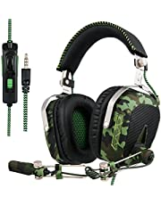 SADES Updated SA926T PS4 Headset Stereo Xbox one Gaming Headset Over-Ear Headphones with Microphone for PS4/Xbox One/PC/Mac/Smart Phone/iPhone/iPad (Army Green)