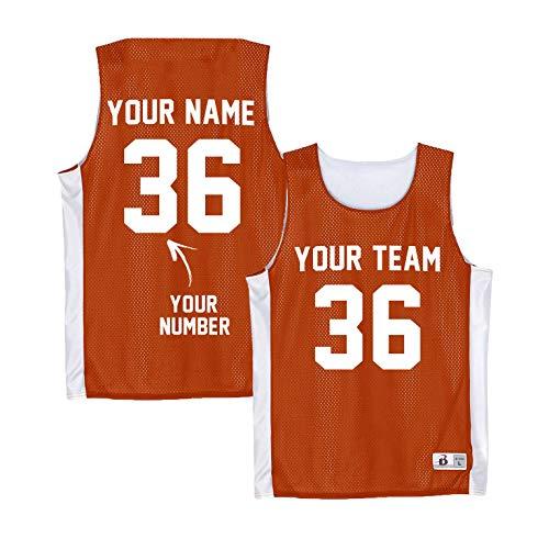 Numbered Pinnies Adult - Custom Basketball Practice Jersey - Orange Reversible Tank -