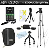 All In Accessories Kit For Kodak EasyShare C1530 14 MP Digital Camera Includes 50 Tripod + 7 Flexible Tripod + USB 2.0 Card Reader + 4AA High Capacity Rechargeable NIMH Batteries And AC/DC Rapid Charger + Deluxe Hard Case + LCD Screen Protectors + More