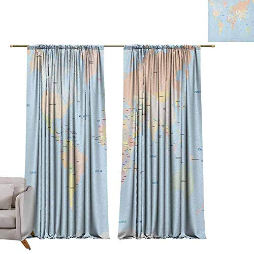 (berrly Tie Up Shades Rod Blackout Curtains Map,Old Fashioned Classical Political World Map Administration Theme Borders Countries, Multicolor W108 x L84 Adjustable Tie Up Shade Rod Pocket Curtain)