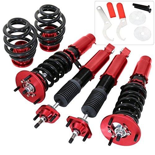 Bmw E46 3-Series 323 325 328 330 Suspension Full Adjustable Lowering Spring Shocks Strut Coilover Dampers Kit Racing Red Bmw 328 Series Shocks