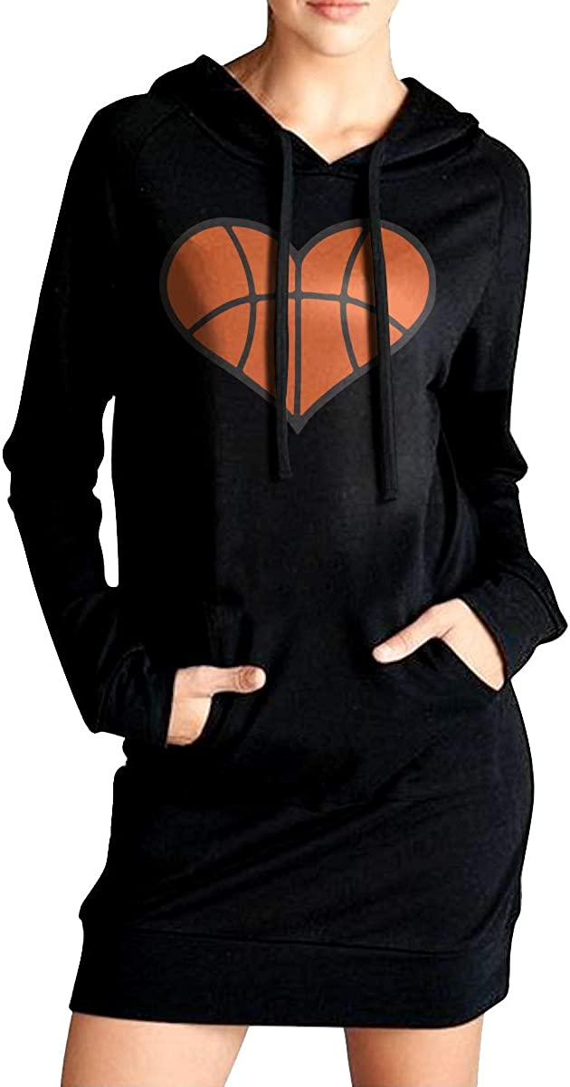 Basketball Heart Sport Outwear with Kanga Pocket ADA/&KGH Womens Pullover Sweatshirt Long Hoodies Dress
