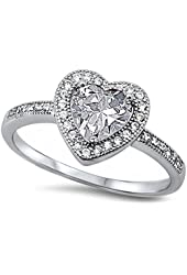 Clear Cz Heart .925 Sterling Silver Ring Sizes 4-12