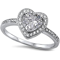 Clear Cz Heart .925 Sterling Silver Ring Size 10 Valentine's Day gift