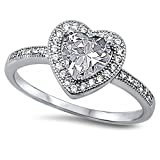 Clear Cz Heart .925 Sterling Silver Ring Size 10