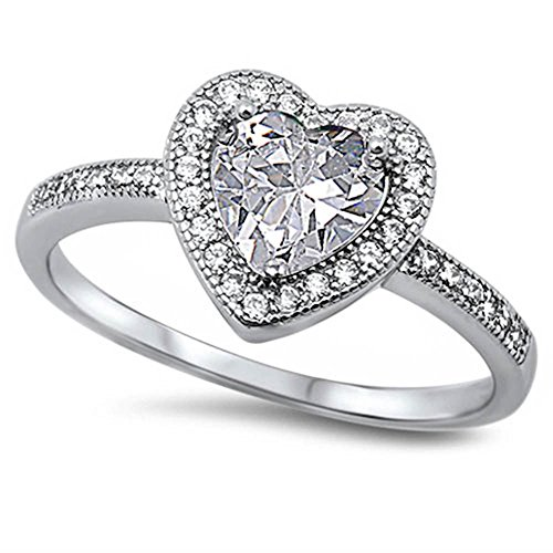 Clear Cz Heart .925 Sterling Silver Ring Size 7